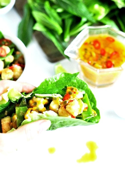 Spicy Passionfruit, Coconut & Prawn Lettuce Wraps
