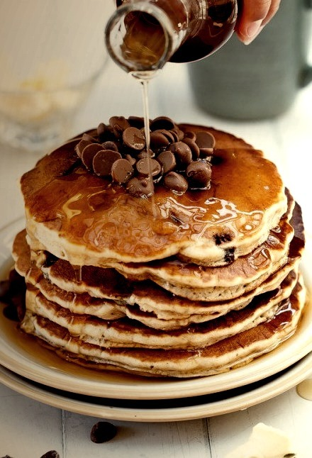 whole wheat chocolate chip banana pancakes